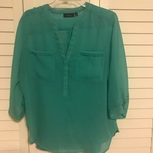 Teal blouse with matching tank